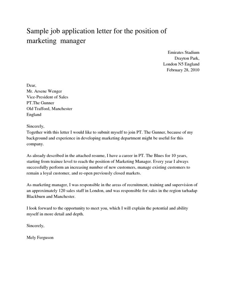 Sample Cover Letters For Job Application Business