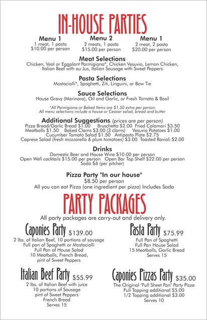 Caponies Express food truck catering menu  - page 3 of 4 - Chicago - pizza, pasta, subs, salads, desserts