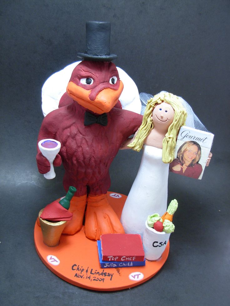 Custom made to order college mascot Hokie Bird wedding cake toppers. $235 www.magicmud.com 1 800 231 9814 magicmud@magicmud... blog.magicmud.com twitter.com/... $235 #mascot #collegemascot #hokie #ms.wuf #gators #virginiatech #football mascot #wedding #toppers #custom #Groom #bride #weddingcaketoppers #caketoppers www.facebook.com/... www.tumblr.com/... instagram.com/... magicmud.com/Wedding photos.htm