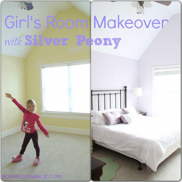 Cute Purple Girl's Room with Silver Peony