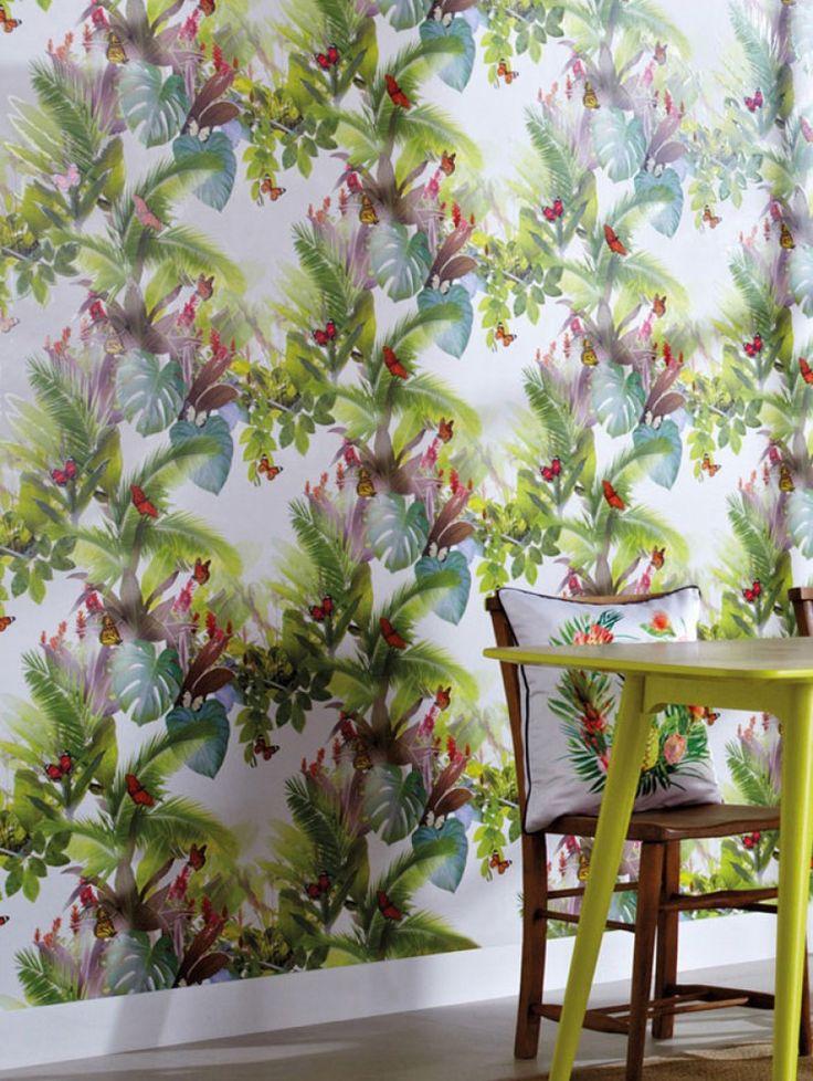 Rowena (Blanco, Amarillo, Verde, Marrón verdoso, Naranja, Violeta rojizo) | Papel pintado floral | Patrones de papel pintado | Papeles de los 70