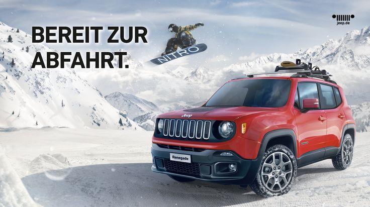"""Die Jeep® Renegade NITRO Special Edition mit 17"""" Leichtmetallfelgen in Silber, 2-Zonen-Klimaautomatik, einem NITRO-Snowboard im Jeep®-Design u.v.m. Werde zum Abenteurer!"""