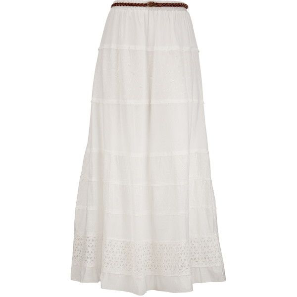 Belted Eyelet Maxi Skirt ($29) ❤ liked on Polyvore featuring skirts, long skirts, bottoms, maxi skirts, patterned maxi skirt, cotton skirts, patterned skirts and tiered maxi skirt