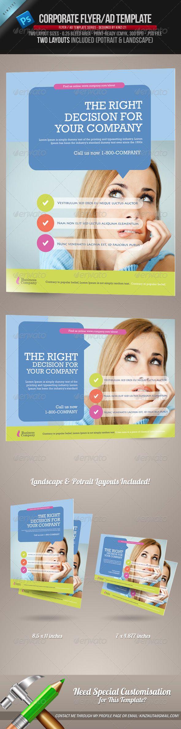 Corporate Flyer/Ad Template  Download info: http://graphicriver.net/item/corporate-flyerad-template/760636?r=kinzi21
