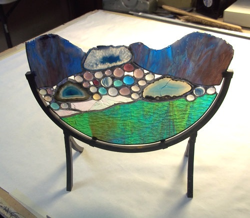 Stained Glass Sculpture The River Agate Geodes Home Decor