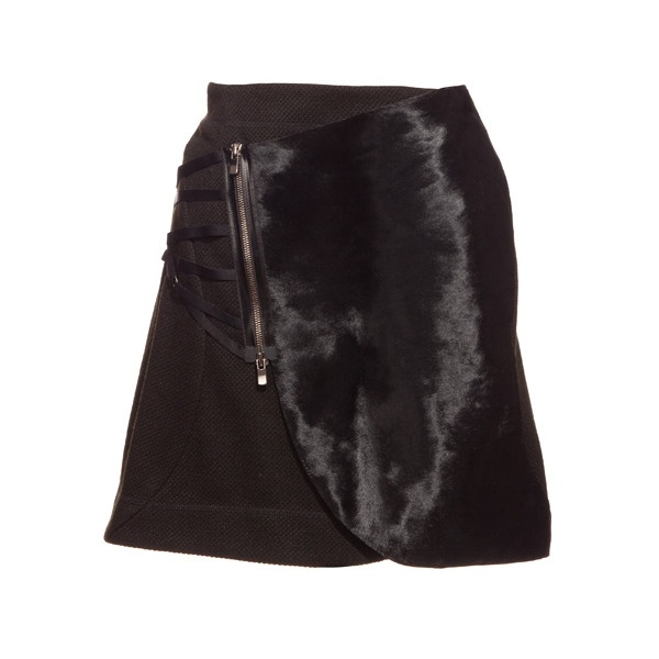 Konsanszky Calf Fur And Wool Skirt – Black – 2012aw-32co (344.520 HUF) found on Polyvore
