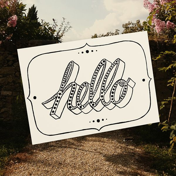 Hello Illustrated by Tatjana Buisson www.postcardhappiness.com #hello #type #typography #greetings #lettering #illustration #stationery #cards #blackandwhite #tatjanabuisson #postcardhappiness