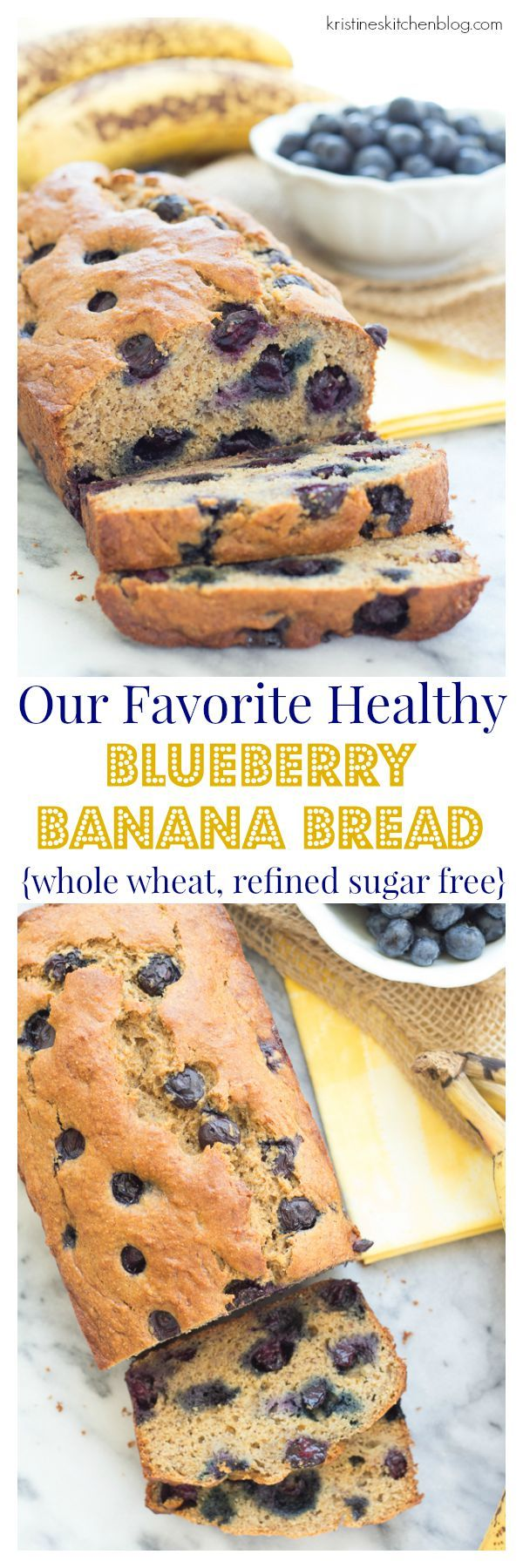 This is our favorite healthy blueberry banana bread! It's whole wheat and sweetened with maple syrup. You'll definitely want a second slice, warm from the oven!