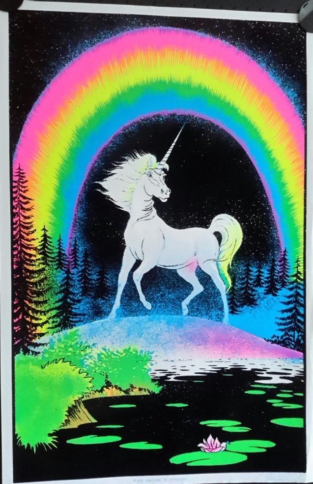 Orig. Vintage Velvet Black light poster.Unicorn 1980 FREE INTERNATIONAL SHIPPING