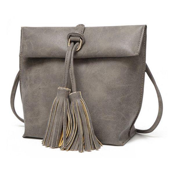 PU Tassel Beach Bag Crossbody Bag Shoulder Bag Sling Bag (17 AUD) ❤ liked on Polyvore featuring bags, handbags, shoulder bags, grey, tassel purse, grey shoulder bag, sling purse, pocket purse and crossbody handbags