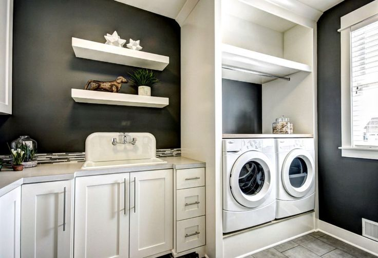 Laundry Room With Black Wall Colors And Cabinets The Best Laundry Cabinets For The Laundry Rooms Check more at http://www.wearefound.com/the-best-laundry-cabinets-for-the-laundry-rooms/