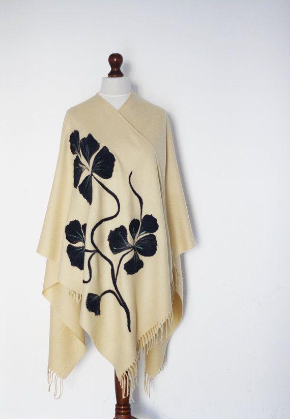Women poncho beige poncho women cape beige by KnitwearFactory, $75.00