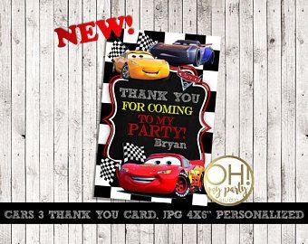 Disney Cars 3 gracias tarjeta personalizada, 3 coches, coches 3 cumpleaños, fiesta de coches 3, gracias a su tarjeta, fiesta de coches 3, coches gracias