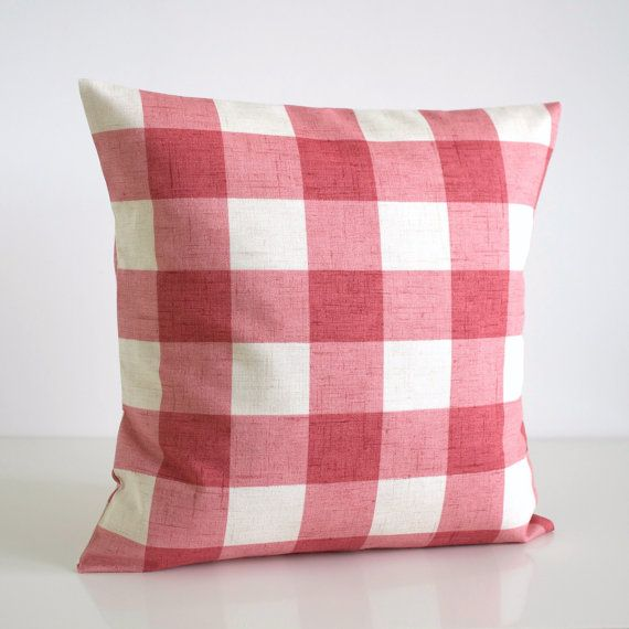 Shabby Chic Pillow Cover, Gingham Pillows, Shabby Chic Pillow Sham, 16 Inch Couch Pillow, 16x16 Throw Pillow Cover - Gingham Raspberry