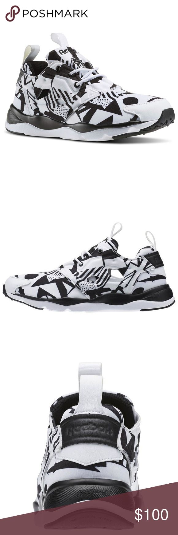 Women's Reebok Furylite Graphic NWOT Color Olympic-white/ black - Size 5 / The low-cut design gives you maximum mobility, while the bold graphics will have heads turning as you zoom past. Synthetic upper for lightweight comfort Low-cut design for freedom of motion and quicker transitions 3D Ultralite midsole foam provides lightweight, long-lasting cushioning Slip-on construction for easy on/off wear High abrasion rubber in key areas for durability and traction Removable sockliner for added…