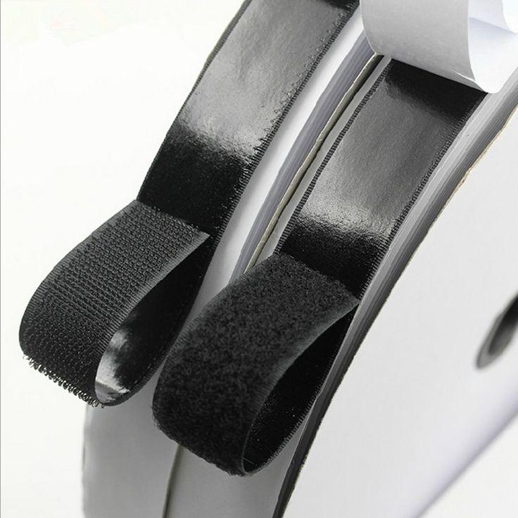 2 Rolls 5m Black Hook and Loop Self Adhesive Fastener Strong Tape Hook and Loop adesivo sugru Tape Velcro adhesive