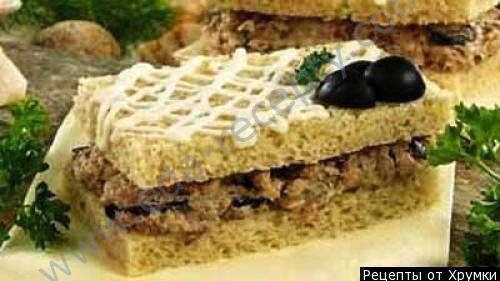 Сэндвич с пастой из сардин и сыра
