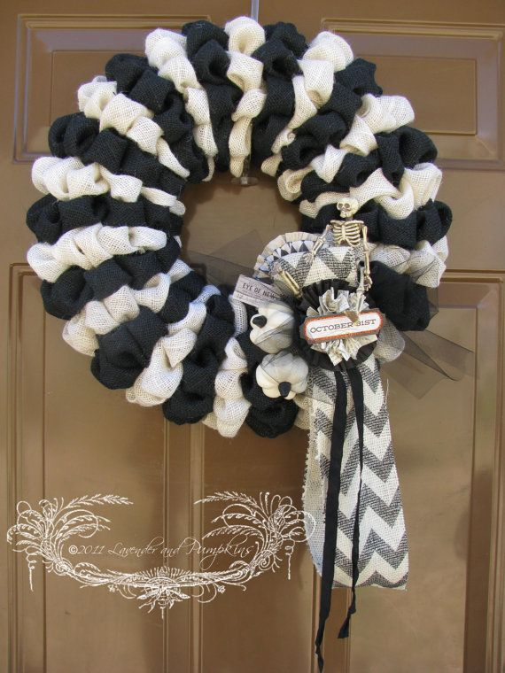 blackwhite halloween burlap wreath by lavenderandpumpkins on etsy - Black And White Halloween Decorations