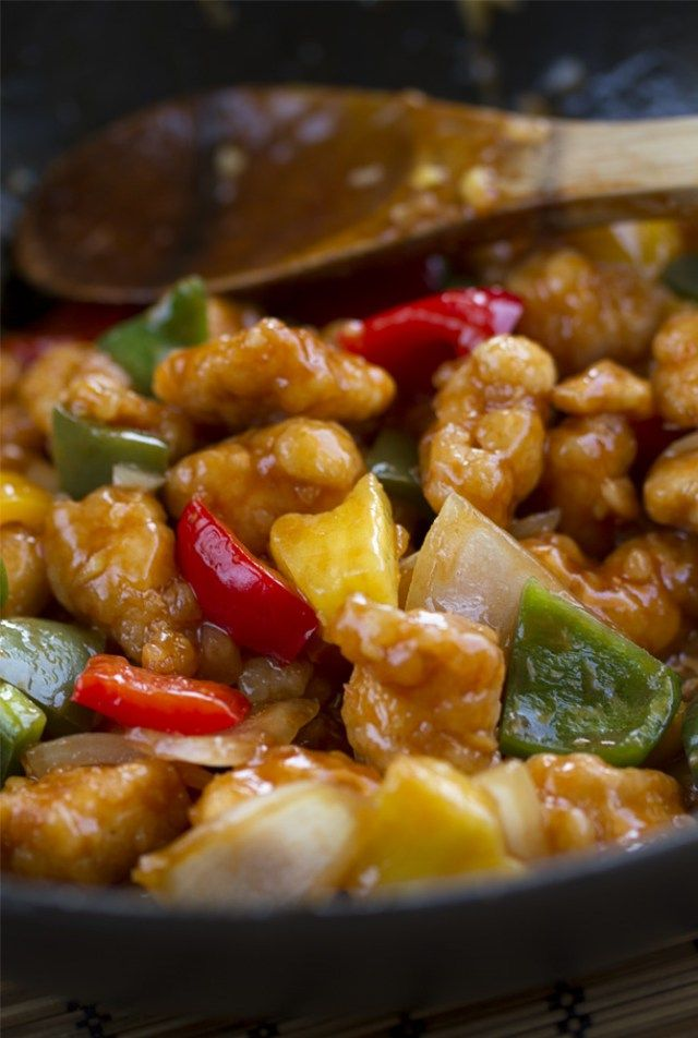 Pollo Agridulce, salsa agridulce, comida china, cocina china, cocina asiática                                                                                                                                                                                 Más