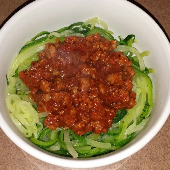 Zucchini noodles with turkey meat sauce
