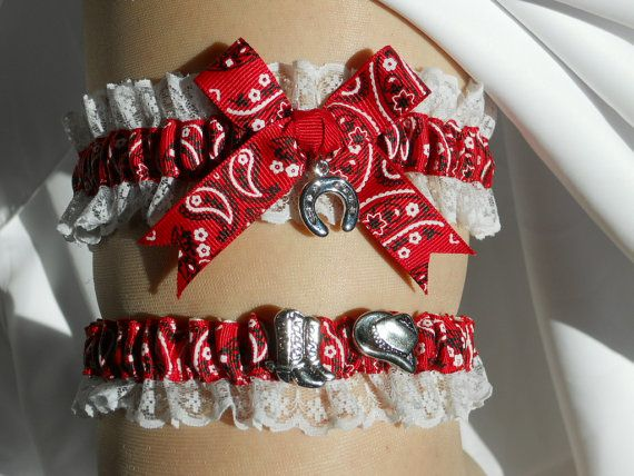 Red Bandanna Country Garter Set With A Lucky Horse Shoe Charm Bridal Wedding