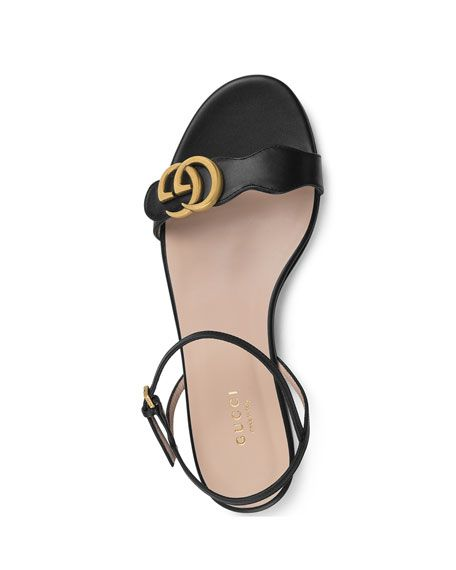16a4524ba Marmont Flat Double-G Leather Sandals | Shoes Too! | Leather sandals ...