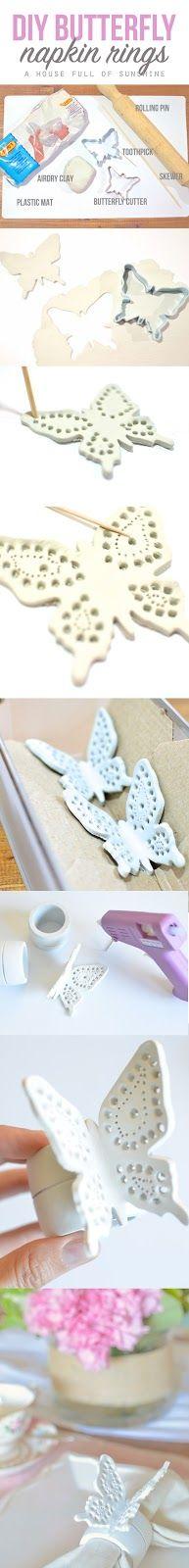 A house full of sunshine: Easy DIY filigree butterfly napkin rings