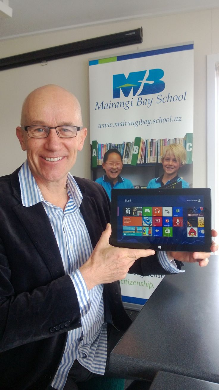 Bruce Warren, Principal at Mairangi Bay School, with his Microsoft RT Surface