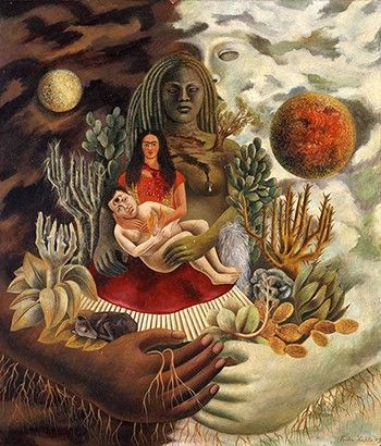 프리다 칼로, [우주와 지구, 나, 디에고 그리고 애견 세뇨르 솔로틀의 사랑의 포옹], 1949년