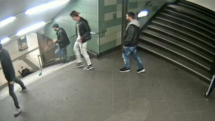 Video of the unprovoked attack on a woman walking down the stairs shocked Germans and went viral.