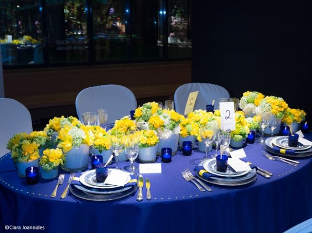 Deco de table printemps ete bleu jaune Plus