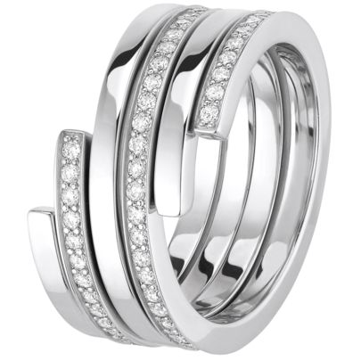 Bague duo Spirale dinh van - or blanc et diamants