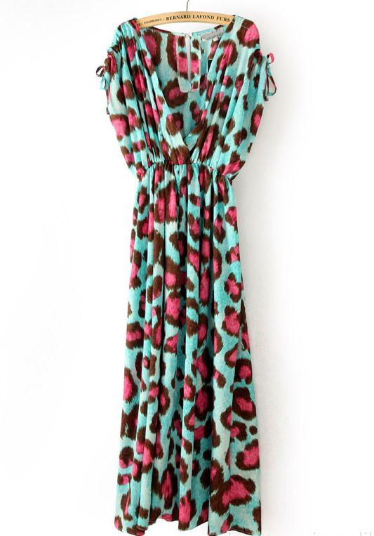 Pink Leopard V Neck Sleeveless Pleated Dress - Sheinside.com