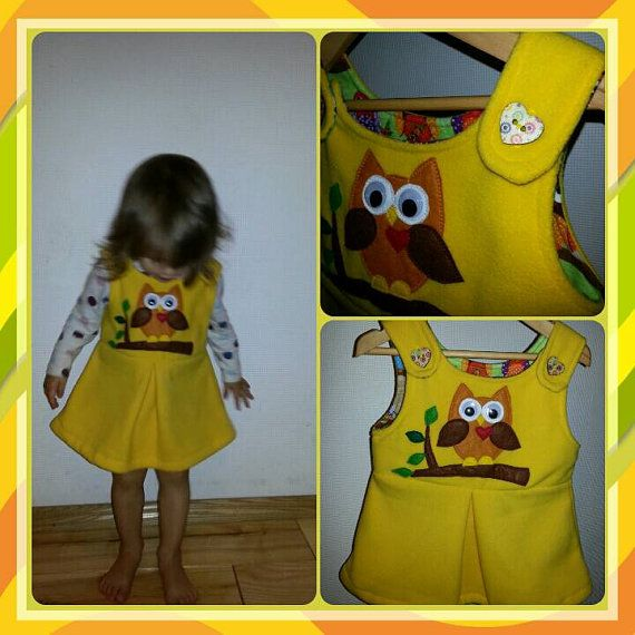 Yellow Handmade fleece winter dress with cute owl for little girl