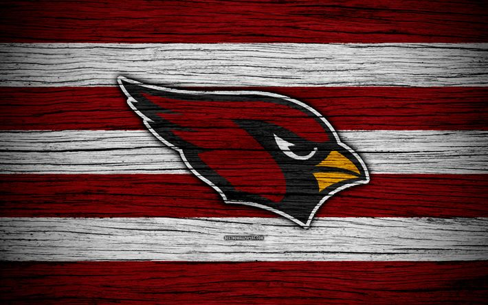Download wallpapers Arizona Cardinals, NFL, 4k, wooden texture, american football, logo, emblem, Arizona, USA, National Football League, American Conference