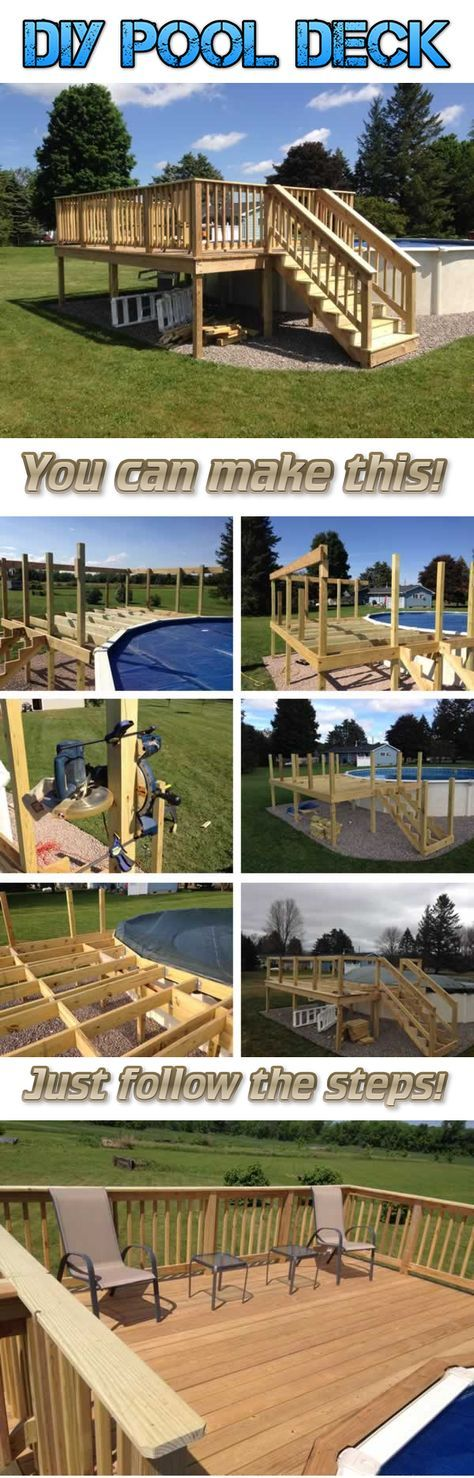 Take your above pool experience to the next level with this DIY pool deck! Find out how easy is to build one from this step-by-step tutorial!