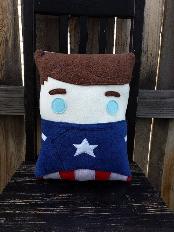 Perfect for any Captain America fan.    Pillow measures approximately 14 x 12 inches Made entirely from top quality fleece with some felt details.