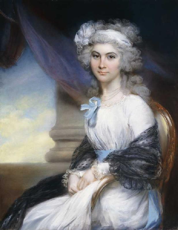 John Russell - Miss Sophia Vansittart in einem weißen Kleid und einem weißen Haarband.