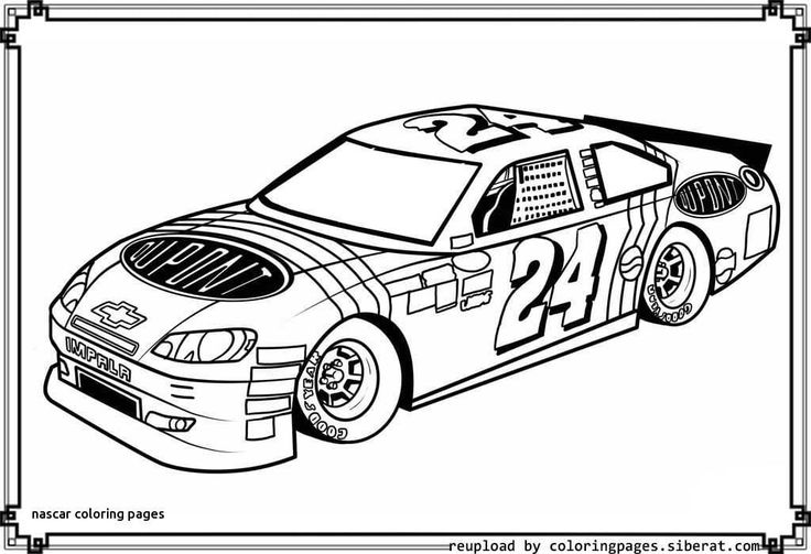 Nascar Coloring Book Race car coloring pages, Cars
