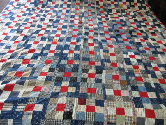 early 1900's 9-patch quilt top