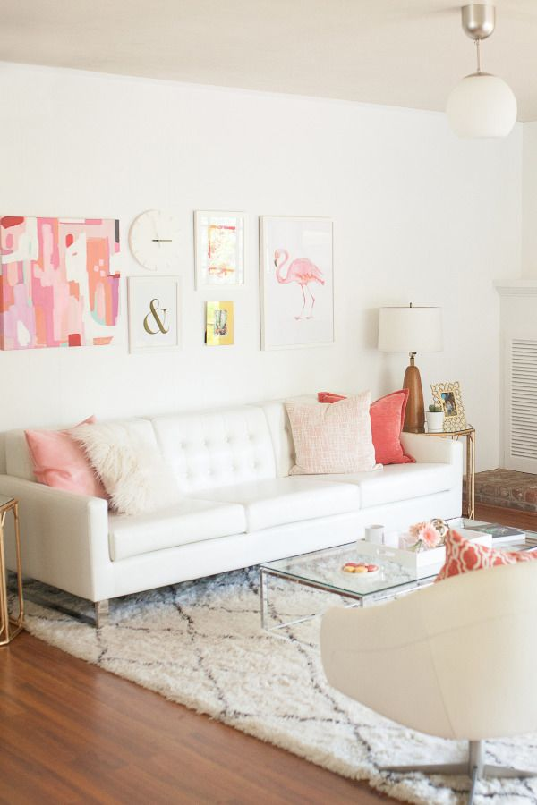 Pink White Living Room Get The Look