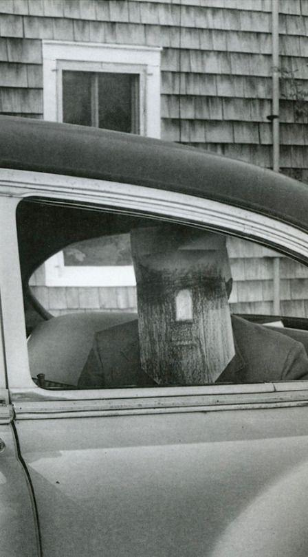 Inge Morath, 'Masquerade' (The Saul Steinberg Mask Series), 1960-1962.      Saul Steinberg in his studio, masked, Manhattan, 1959.