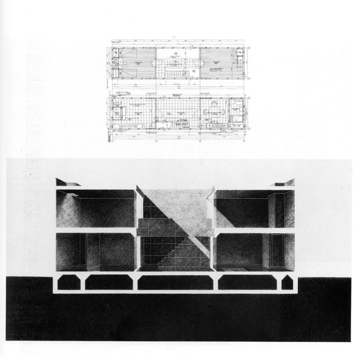 Azuma House - Tadao Ando  Plan & Perspectival Section