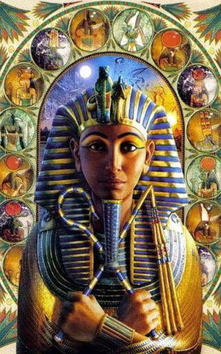 Pharaoh sorrounded by Egyptian gods