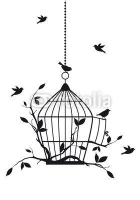 Vektor: free birds with open birdcage, vector