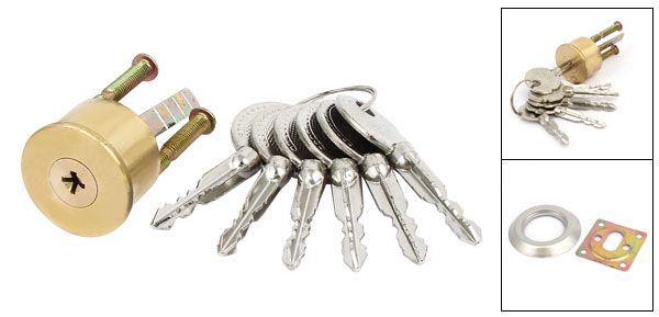 Household Closet Cupboard Door Metal Cylinder Head Plunger Lock Locker w 5 Keys