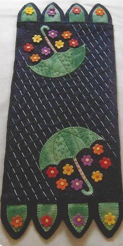 Showers Bring Flowers Felted Wool Penny Rug Tablerunner by Cath's Pennies Design | eBay