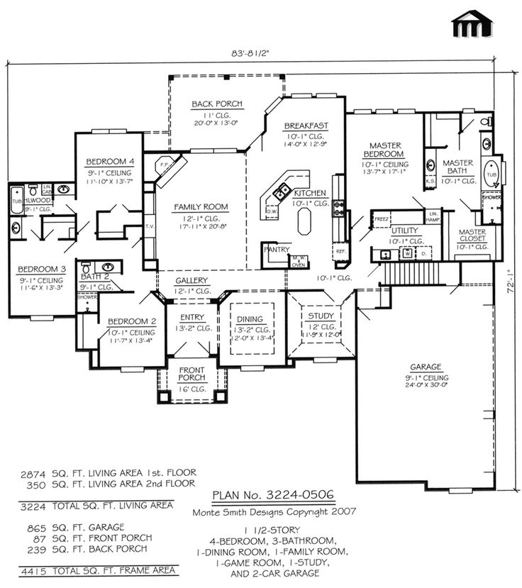 Superior 4 Bedroom 1 Story   3 Bathrooms, 1 Family Room, 1 Dining Room, And 2 Car  Garage   2874 Square Feet