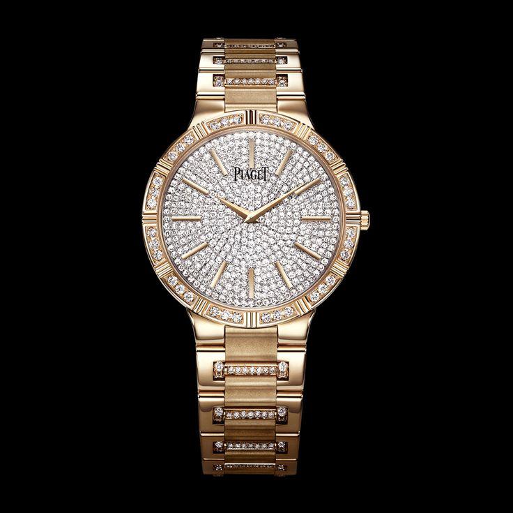 초박형 기계식 핑크 골드 다이아몬드 시계 - 피아제 명품 시계 G0A37054