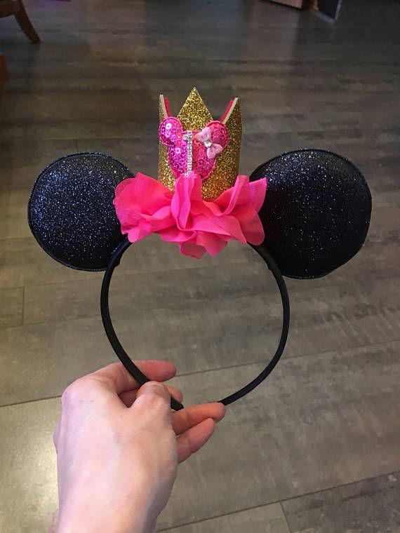 Caliente de oro rosa y negro minnie mouse orejas cumpleaños